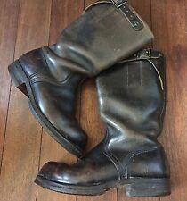 rare anciennes bottes boots moto armee millitaire marron noir mixte vintage WWII