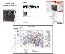 SONY ICF-5900W PHOTOCOPY INSTRUCTION + SERVICE MANUALS + MARKETING BROCHURE
