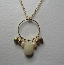 """WHITE AGATE & FWP PEARL DANGLY HOOP NECKLACE GOLD PLATED 18"""" 45 cm + EXT"""