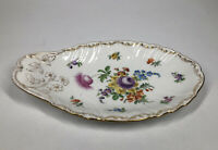 """Richard Klemm Dresden 9 1/2"""" x 6"""" Floral Painted Shell Shaped Tray w/ Gold"""