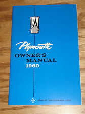1960 Plymouth Full Size Car Owners Operators Manual 60 Fury Belvedere