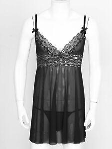 Men Sissy Sheer Lace Mesh Lingerie Set V-Neck Night Dress with Briefs Sleepwear