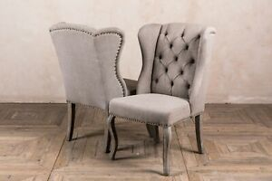 PAIR OF STONE GREY LINEN UPHOLSTERED DINING CHAIRS FRENCH STYLE BUTTON BACK
