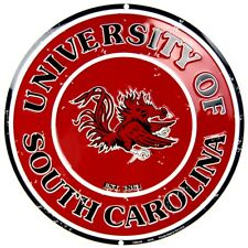 "University of South Carolina Gamecocks 12"" Round Collegiate Metal Sign Embossed"