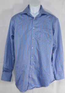 Mens THOMAS PINK 16.5 33 Medium TRAVELLER BLUE WHITE CHECKERED L/S DRESS SHIRT