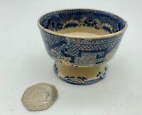 Antique Pearlware Blue White Transfer Print Pottery Salt circa 1825