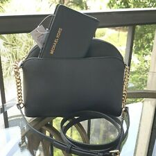 Michael Kors Women Leather Crossbody Bag Handbag Purse Messenger Black + Wallet
