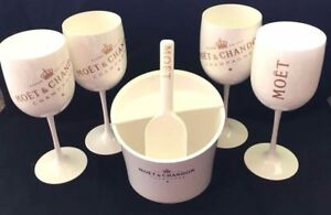Moet Chandon Ice Imperial Champagne Ice Bucket Caddy W/ Scoop + 4 FLUTES NEW!