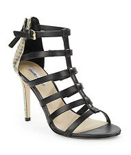 $250 Charles David Smooth Snake-Embossed Leather Strappy Sandals Size US 6 Black