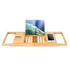 Bamboo Bathtub Caddy Shower Rack Bath Tub Tray Organizer Book/Pad/Tablet Holder