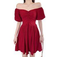 Women Summer Sexy Off Shoulder Puff Sleeves Short Dress Pleated M-4XL Cocktail D