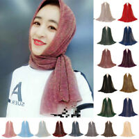 Muslim Women Shiny Maxi Scarf Pleated Wrinkle Shawl Wrap Headscarf Hijab Stoles