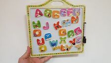Wooden Board for Kids with Magnetic Alphabets Can use on fridge door