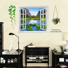 Large 3D Window View Mountain River Landscape UK Wall Sticker