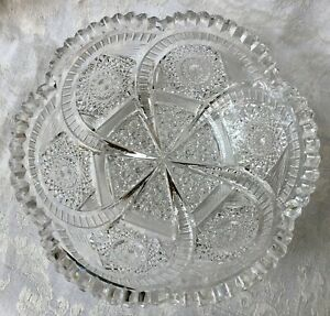 ABP American Brilliant Cut crystal comet swirl pattern bowl, beautiful