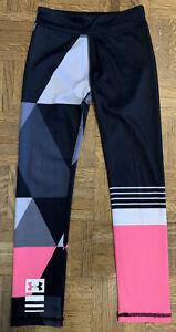 Girls Under Armour Leggings Pink Black Gray Size 6X Good Condition
