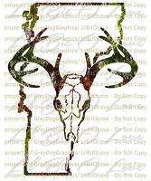 Camouflage Camo Vermont Buck Hunter Hunting Vinyl Decal Sticker Deer Skull Stag