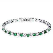 Lady Elegant Emerald+White Round Lab Diamond White Gold Filled Tennis Bracelet