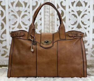 FOSSIL Vintage Reissue Weekender WALNUT Leather Satchel Shoulder Tote Handbag