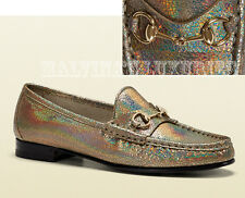 $625 GUCCI SHOES 1953 HORSEBIT LOAFER FAWN CRACKLED METALLIC LEATHER 34 / 4