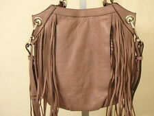 ORYANY MUSHROOM ITALIAN LEATHER MALIA FRINGE SHOULDER BAG PURSE NEW COOL