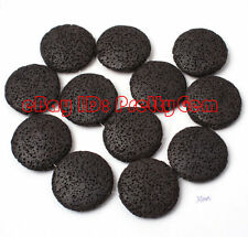 """32mm Coin Black Lava Gemstone For DIY Jewelry Making Spacer Beads Strand 15"""""""