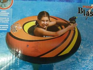 Swimline PowerBlaster ONE Inflatable Floating Ride On Tube w Squirter   P 92