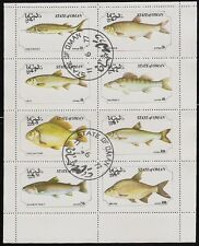 State of Oman sheet of 8 Fish Stamps,Trout, Bream, Dace, CTO Trucial State bogus