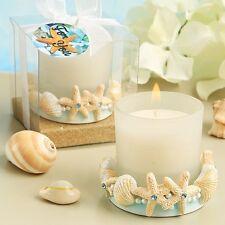 Matrimonio mare bomboniera portacandele conchiglie strass azzurri stelle marine