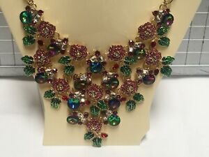 """Betsey Johnson Pink Rose Flower Blossom Gold Plated Necklace 16-19"""" Macy's BJ37"""