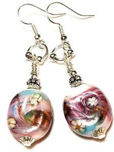 Long Pink Purple Silver Millefiori Earrings Glass Bead Drop Dangle Gypsy Boho