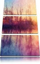 Árboles Espejo Situado en el Agua 3-Teiler Foto en Lienzo Decoración Pared