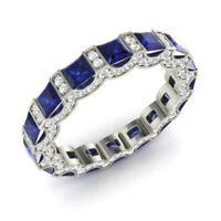 3.88 CT Saphir Naturel Gemme Bande Solide 950 Platine Diamant Bague Taille N P