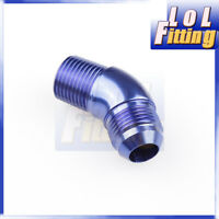 """-6AN AN6 Male To 1/4"""" NPT 45 Degree Full Flow Adapter Fitting Aluminum Blue"""