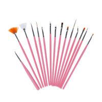 15Pcs/lot Nail Art Pen UV Gel Design Painting Brush Set Manicure Nails Pink Tool