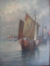 W BUTTLER 1890-1910 FISHING BOATS IN VENICE LAGOON LARGE OIL SIGNED ATMOSPHERIC