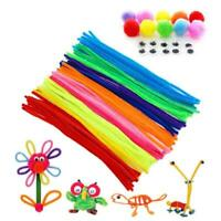 100 Pipe Chenille Sticks Cleaners Stems Assorted Plain+Fluffy Pompoms+Toy Eye UK