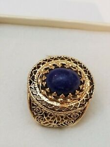 Antique Art Deco 14K Yellow Gold Filigree Ring: Huge Lapis Lazuli Ring