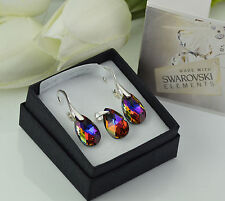 925 STERLING SILVER EARRINGS/SET MADE WITH SWAROVSKI 16mm PEAR - VOLCANO