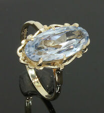 9CT Yellow Gold Marquise Shaped Blue Topaz Solitaire Ring Size O (80.18.543)