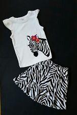 Gymboree Girls Skirt Tank Shirt Size 6 Wild For Zebra Outfit Glitter Black White