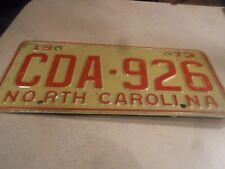 GOOD ORIGINAL PAINT 1973 NORTH CAROLINA LICENSE PLATE CDA-926