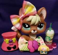 Authentic Littlest Pet Shop # 1126 Red Brown Yellow Blonde Fox Teal Blue Eyes