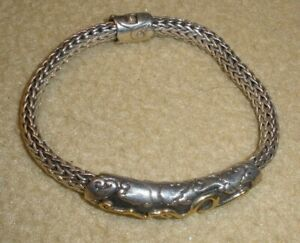 "John Hardy 8"" x 6 1/2 mm Sterling Bracelet with 18K Accents - 35.4 gm"