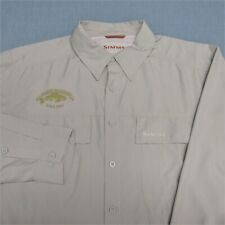 SIMMS POLY LONG SLEEVE BUTTON DOWN FISHING SHIRT--L--LOGOS--EXCEPTIONAL QUALITY!