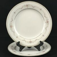 "Set of 2 VTG Salad Plates 8"" by Noritake Fairmont 6102 Pink Roses Floral Japan"