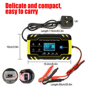 12V/24V Car Battery Charger Jump Starter Pulse Repair 3-Stage Automatic Trickl