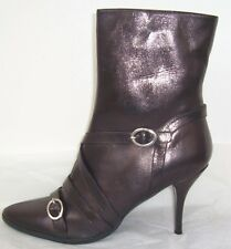 DKNY Black Leather Strap Buckle Ankle Boots 9.5