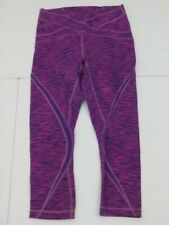 Lululemon Athletica SZ 6 Free Flow Crop Diamond Jacquard Space Dye Raspberry Glo