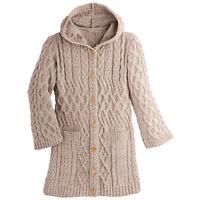 Aran Woolen Mills Womens Hooded Long Cardigan Sweater 100% Merino Wool Aran Knit